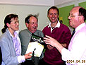 Harrogate Christian Ecology Link meet Labour Environment MEP David Bowe (right) on 29 April 2004, 2 days before 10 new countries join the EC