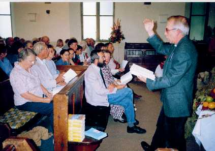 singing practice just before the service