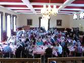 Over 120 people attended the conference - seen here eating the mostly vegetarian, organic and fair trade food