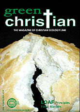 Picture of the Green Christian Magazine that David Bowe is being shown above