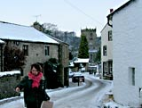 Spreading salt near Giggleswick Church Settle