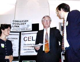 Michael Meacher (Centre) talks with Stephanie Boucher (Editor of Green Christians) and Tim Cooper (CEL Chairman)