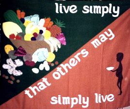 Live simply banner displayed by John Miller.
